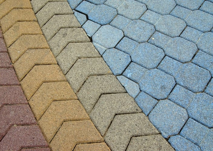 beautifully patterned concrete pavers in different colors | Mackay Concreters